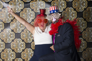 wedding photo booth - couple with funny hats and glasses