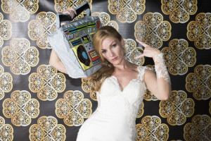 wedding photo booth - bride with radio