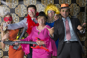 wedding photo booth - group with guitars and hats