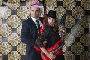 wedding photo booth - couple with guitars